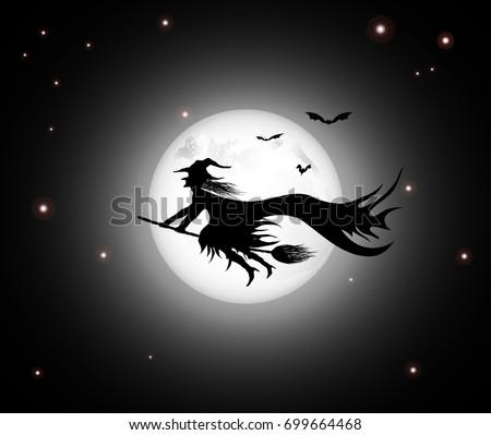 black witch night sky background