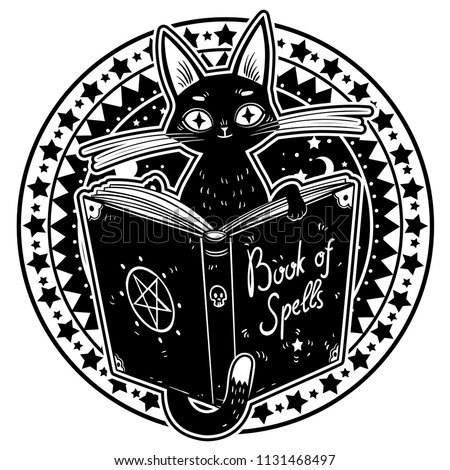 black witch's cat reading the