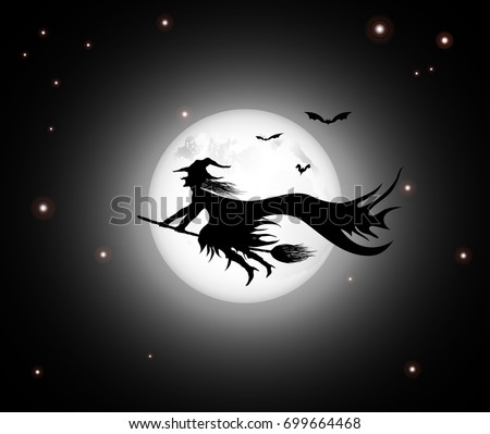 black witch with bats flying on