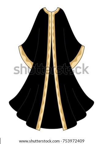 Black with gold abaya, long black dress, long muslim dress