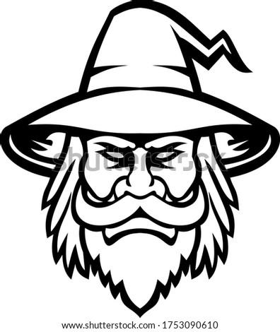 Black Wizard Sorcerer or Magician Head Mascot Black and White Сток-фото ©