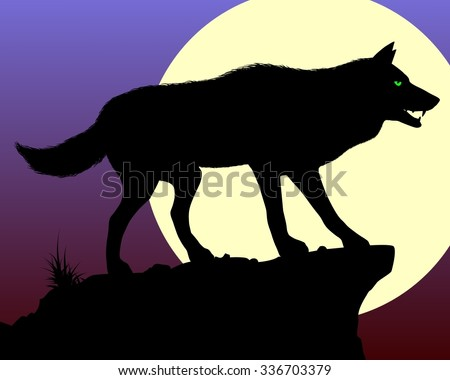black wolf silhouette of the