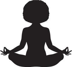 Black woman meditating with natural afro hair vector illustration