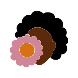 Black woman portrait with flower in abstract style. Vector abstract illustration of girl in modern style. Black lives matter