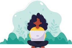 Black woman sitting with laptop. Freelance, online studying, work from home concept. Vector illustration in flat style.