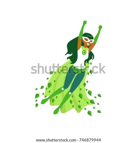 black woman superhero in flying