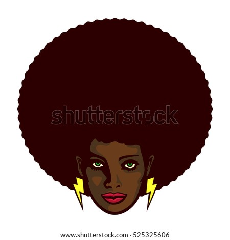 Black woman with afro hair and lightning bolt earrings vector illustration, determined groovy cool girl face