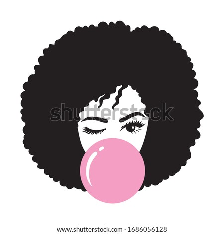Black woman with afro hair blowing bubble gum vector illustration Stockfoto ©
