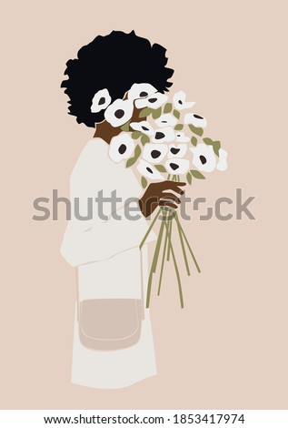 Black woman with curly hair and white flowers in a hand on the pink isolated background. Abstract vector illustration. Foto stock ©