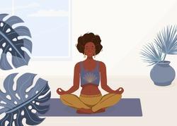 Black woman yoga at home vector background illustration. African young girl sitting in yoga lotus pose. Happy relaxed black female character performing meditation exercise.