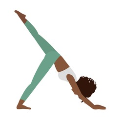 Black woman yoga isolated on the white background. Yoga pose. Vector illustration