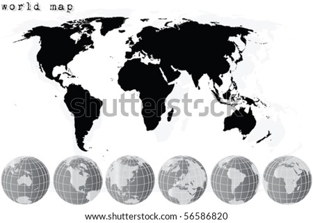 black world map and grey earth globes