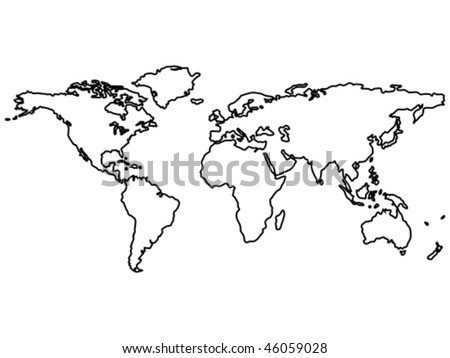 White Outline World Map Vector - Download Free Vector Art, Stock ...