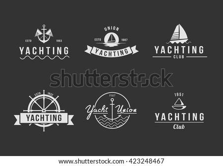 Black yachting logo set
