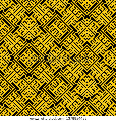 black yellow Art Deco pattern in ethnic style Aztec style hipster style