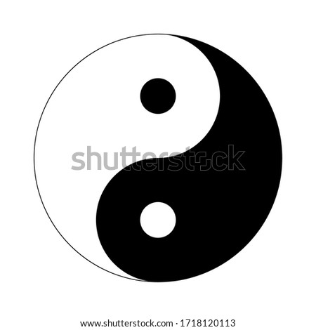 Black yin yang on a white background, sign for design, vector illustration Stock photo ©