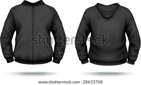 Black zipper hoodie with front pocket. VECTOR, contains gradient mesh elements. More clothing designs in my portfolio!