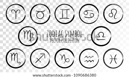 Black zodiac symbols vector set, collection of hand painted astrology signs. Aries, Taurus, Gemini, Cancer, Leo, Virgo, Libra, Scorpio, Sagittarius, Capricorn, Aquarius, Pisces icons isolated.