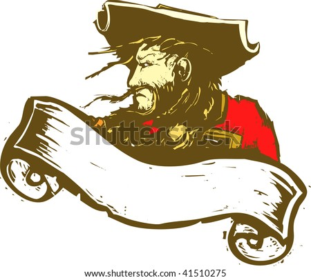 Blackbeard the Pirate with scroll banner.