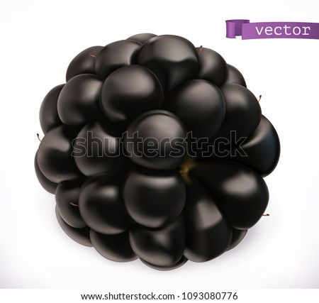 Blackberry. Fresh fruit 3d realistic vector icon - Shutterstock ID 1093080776