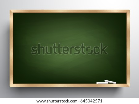 Blackboard background and wooden frame, rubbed out dirty chalkboard, vector illustration