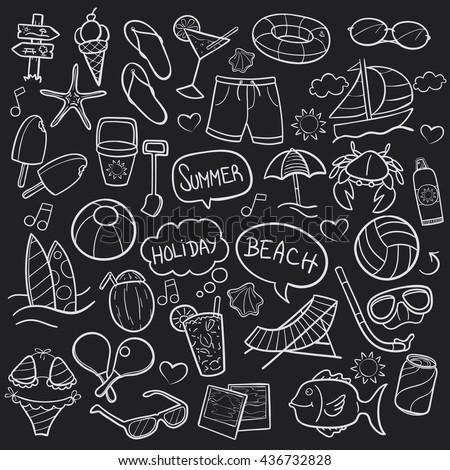 blackboard beach day doodle