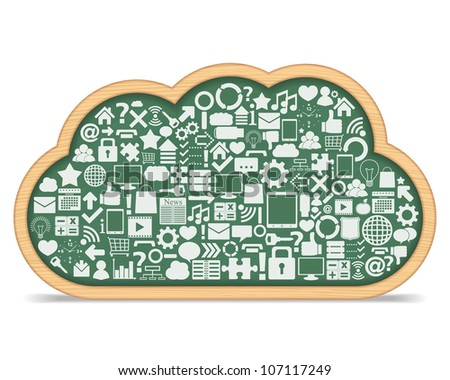 Blackboard cloud with different icons, cloud computing concept, vector eps10 illustration