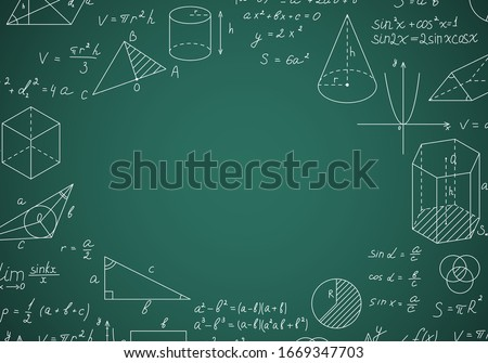 Blackboard Mathematical with Thin Line Shapes and Inscriptions Round Design Template Include of Formula, Calculation and Equation. Vector illustration