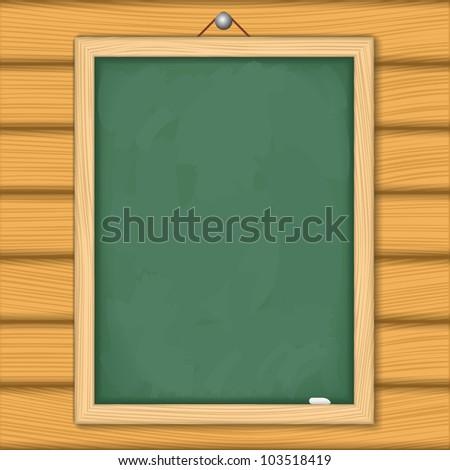 Blackboard on wooden wall, vector eps10 illustration