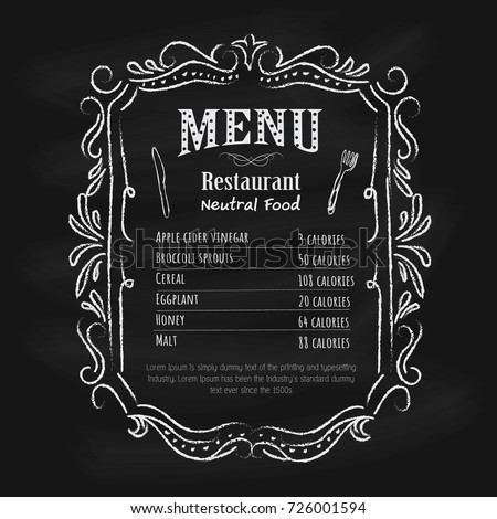 Blackboard restaurant menu vintage hand drawn frame label vector