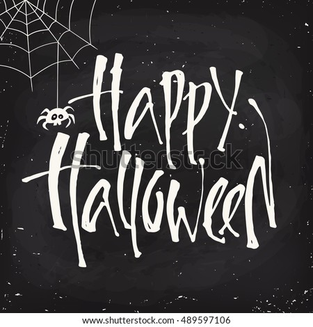 Blackboard style vector Halloween poster design with halloween symbol and Happy Halloween lettering. Cartoon style halloween card. Party invitation design.