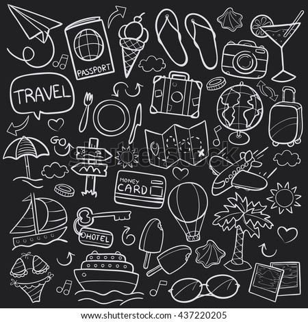 blackboard travel doodle icons