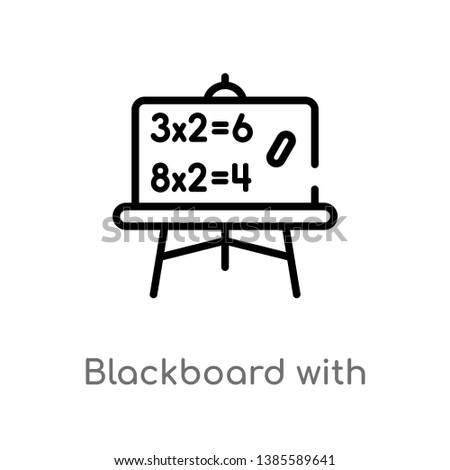 blackboard with basic calculations vector line icon. Simple element illustration. blackboard with basic calculations outline icon from other concept. Can be used for web and mobile