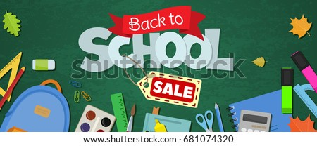 Blackboard with greeting, First day of school, Back to school sale horizontal banner. Vector