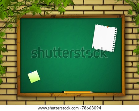 blackboard with notes and pencil at brick wall over green leaves
