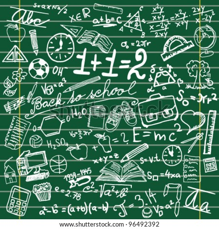 Blackboard with school symbols