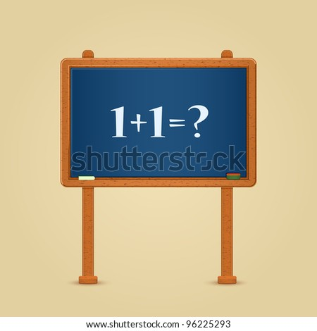 Blackboard with Simple 1 + 1 = ? Equation Written by White Chalk. Vector Illustration