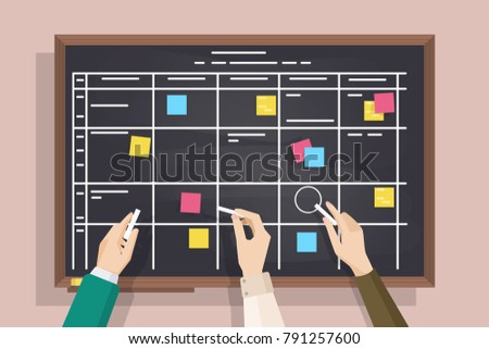 Blackboard with table drawn on it, sticked post-it notes and hands holding pieces of chalk. Board for effective daily planning, scheduling, timetable, to-do list. Colorful vector illustration.