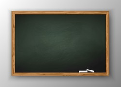 Blackboard with wooden frame, dirty chalkboard.