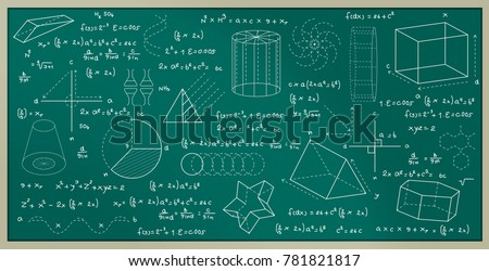 Blackboard written with physics and mathematical formulas.