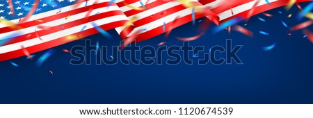 Blackguard for 4th of July with american flag and Confetti.USA independence day celebration with American flag.USA 4 th of July promotion advertising banner template