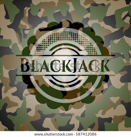 blackjack on camouflage texture