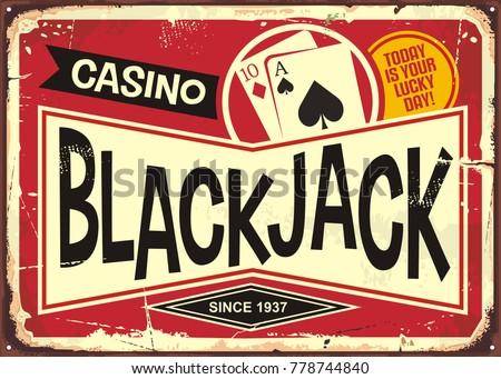 blackjack retro casino sign....