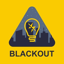 blackout icon on a yellow background. power outage in a big city. flat vector illustration.