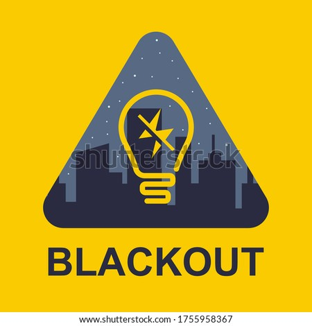 blackout icon on a yellow background. power outage in a big city. flat vector illustration. Photo stock ©