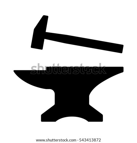 Blacksmith crafting anvil with hammer flat vector icon for games and websites