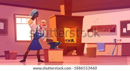 Blacksmith works with hammer and anvil in forge. Vector cartoon interior of smithy workshop with brick furnace with fire, shelves with tools and metallurgy equipment Stock fotó ©