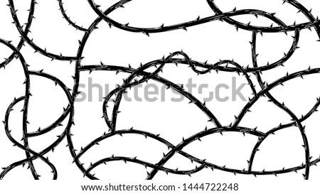Blackthorn branches with thorns stylish endless background. Horror style horrible. Vector illustration. Stockfoto ©