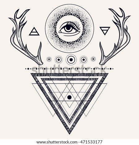 ebceef67d2f5f Blackwork tattoo flash. Dreamcatcher with third eye, feathers and deer  antlers. Vector.