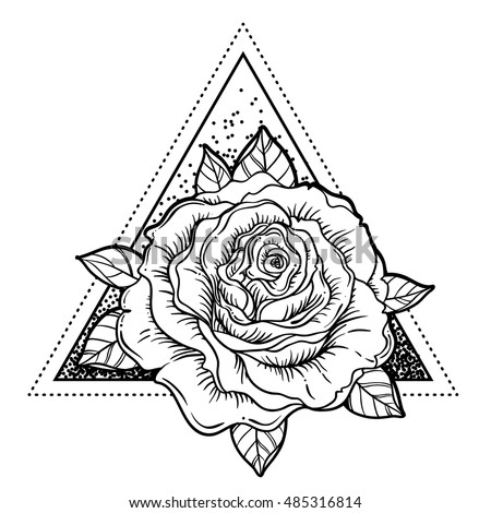 Royalty Free Stock Photos and Images: Blackwork tattoo flash. Rose ...